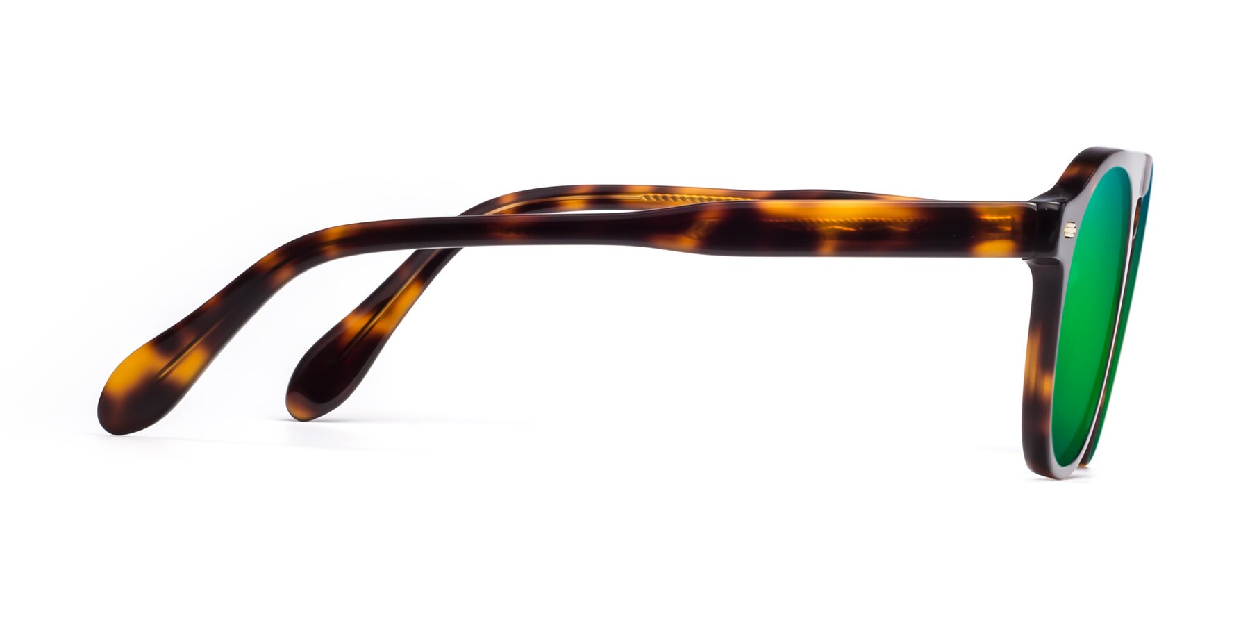 Side of Mufasa in Tortoise with Green Mirrored Lenses