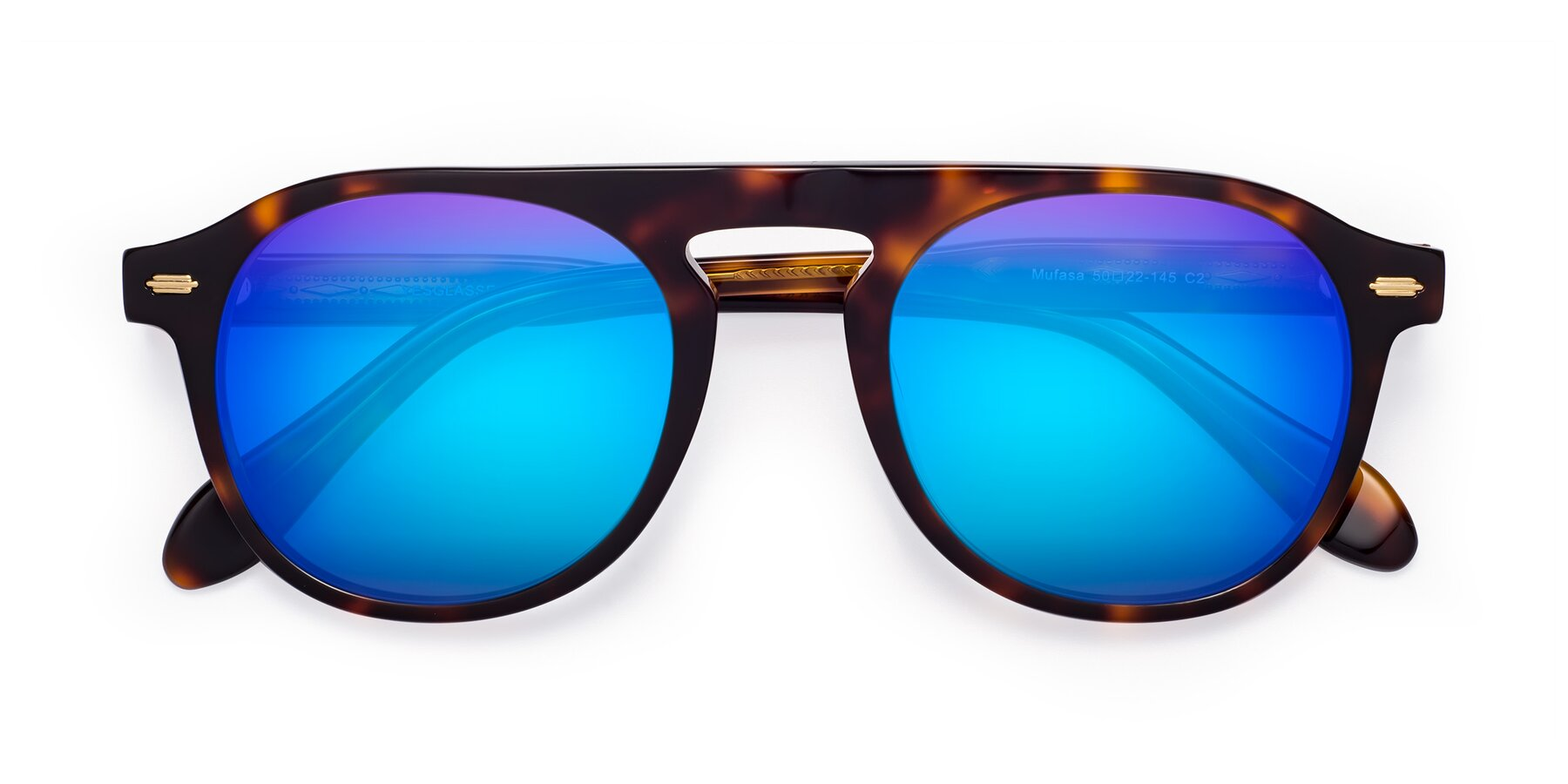 Folded Front of Mufasa in Tortoise with Blue Mirrored Lenses