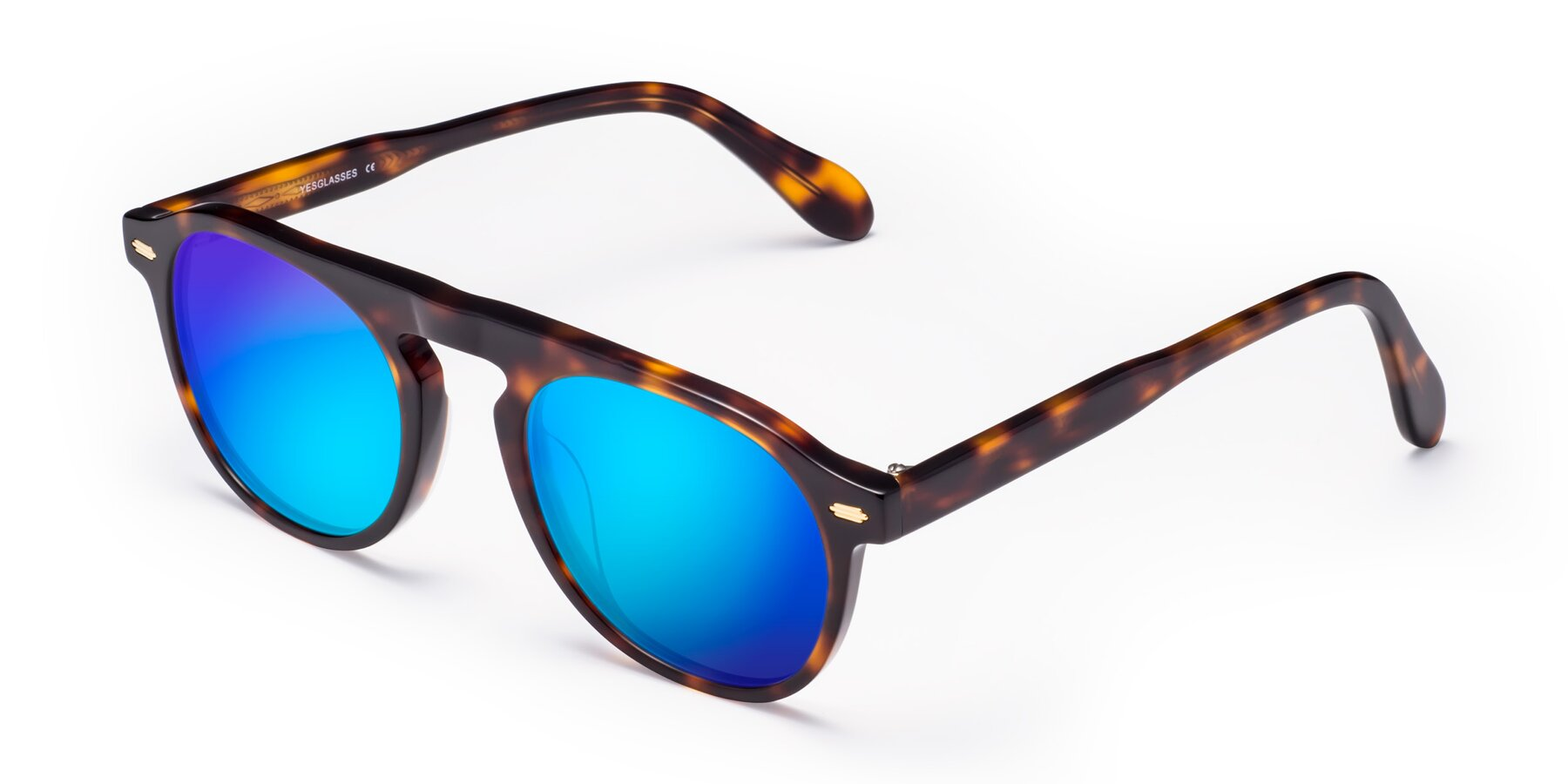 Angle of Mufasa in Tortoise with Blue Mirrored Lenses