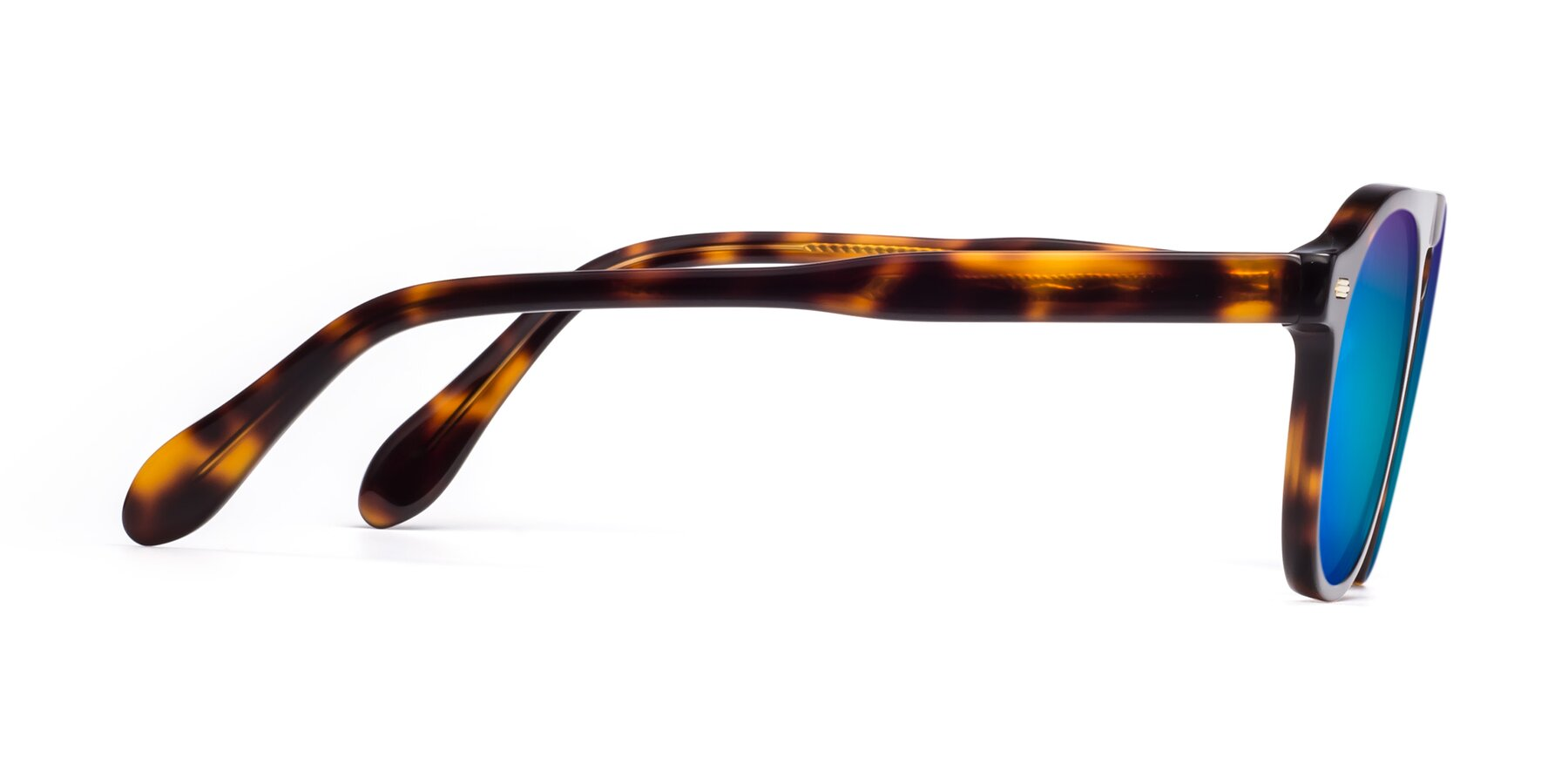 Side of Mufasa in Tortoise with Blue Mirrored Lenses
