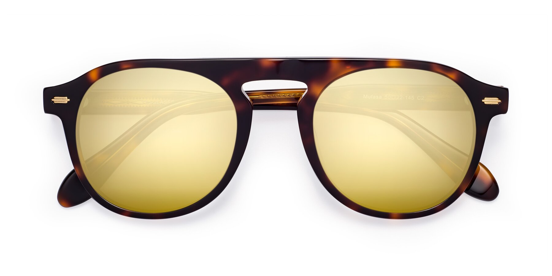 Folded Front of Mufasa in Tortoise with Gold Mirrored Lenses