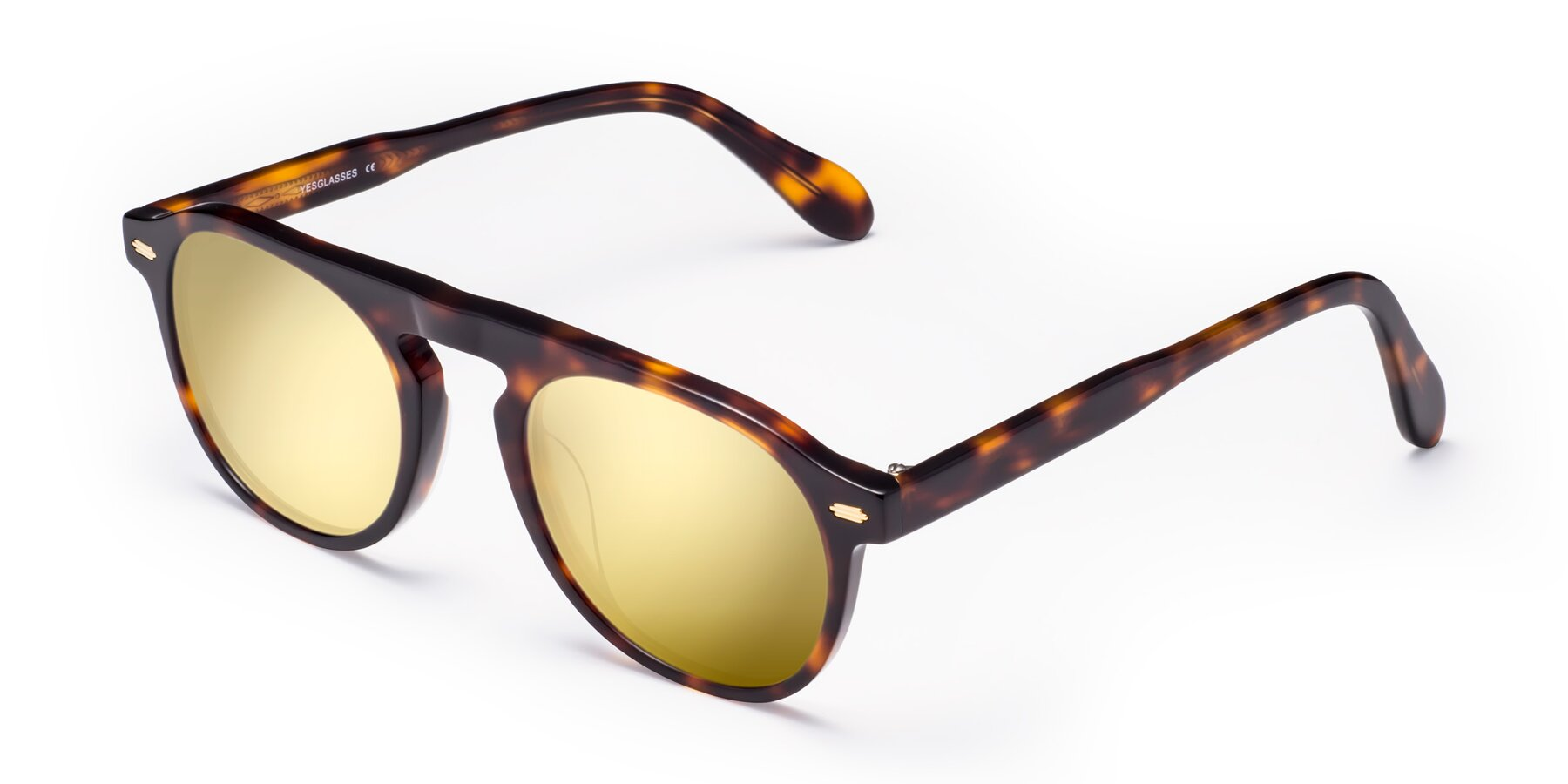 Angle of Mufasa in Tortoise with Gold Mirrored Lenses