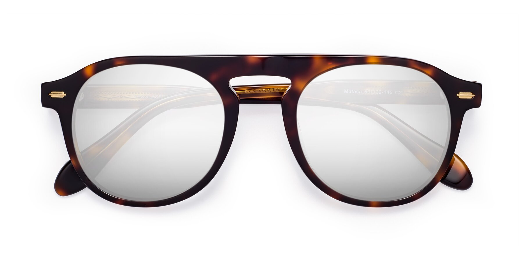 Folded Front of Mufasa in Tortoise with Silver Mirrored Lenses
