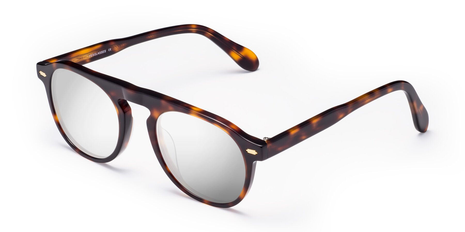 Angle of Mufasa in Tortoise with Silver Mirrored Lenses