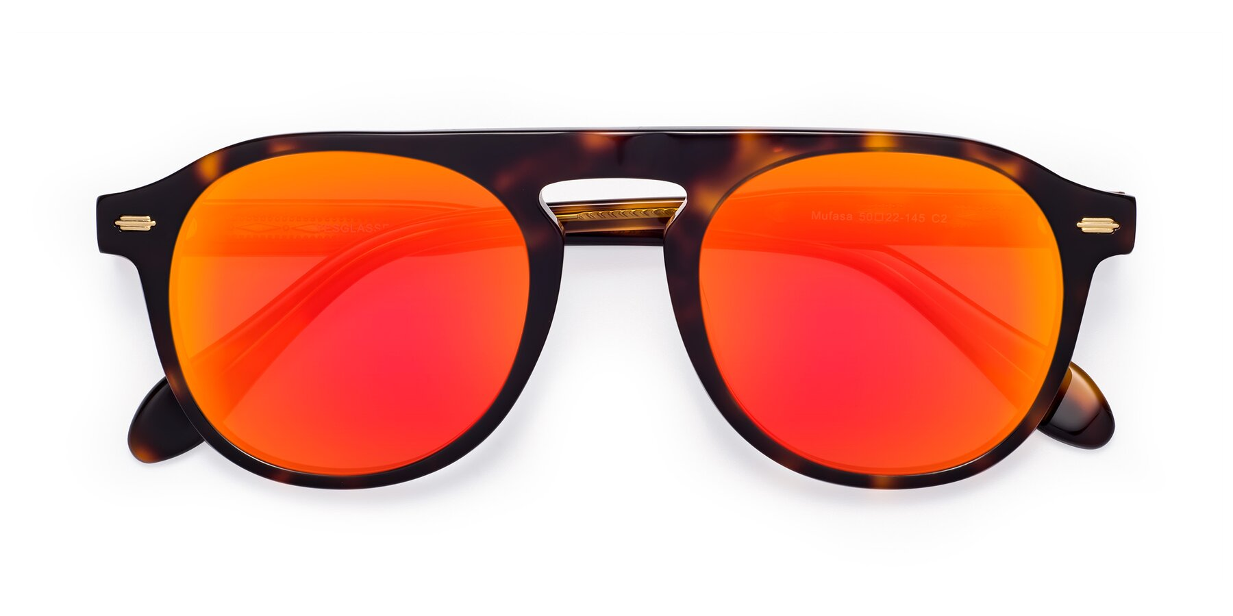 Folded Front of Mufasa in Tortoise with Red Gold Mirrored Lenses