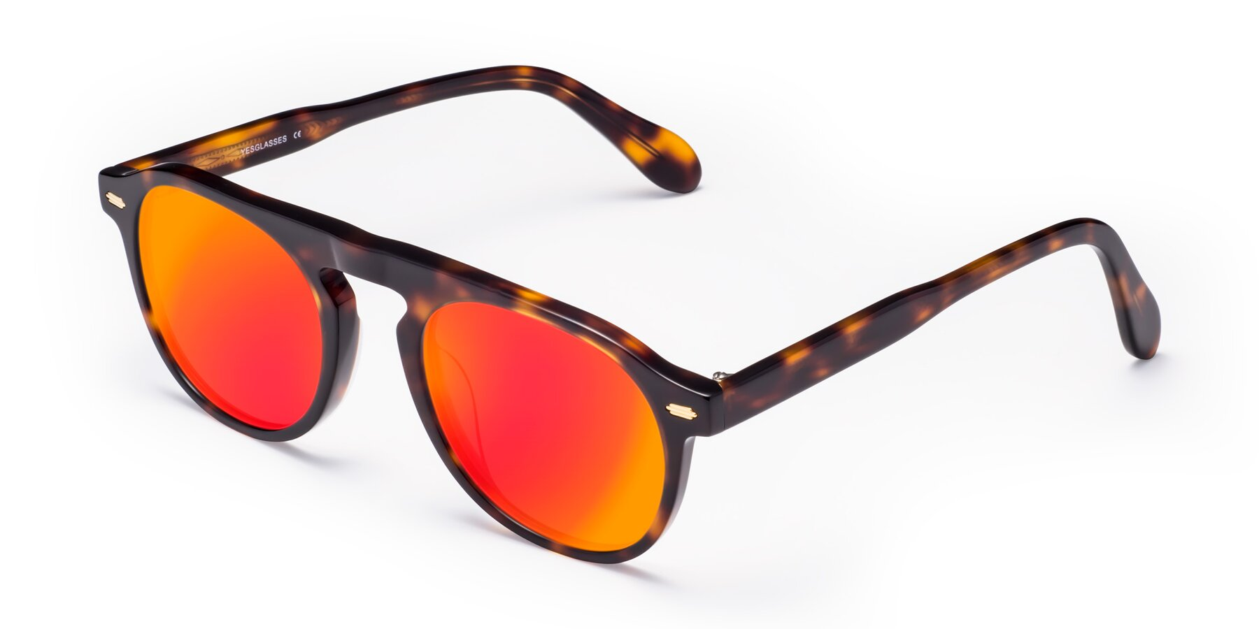 Angle of Mufasa in Tortoise with Red Gold Mirrored Lenses