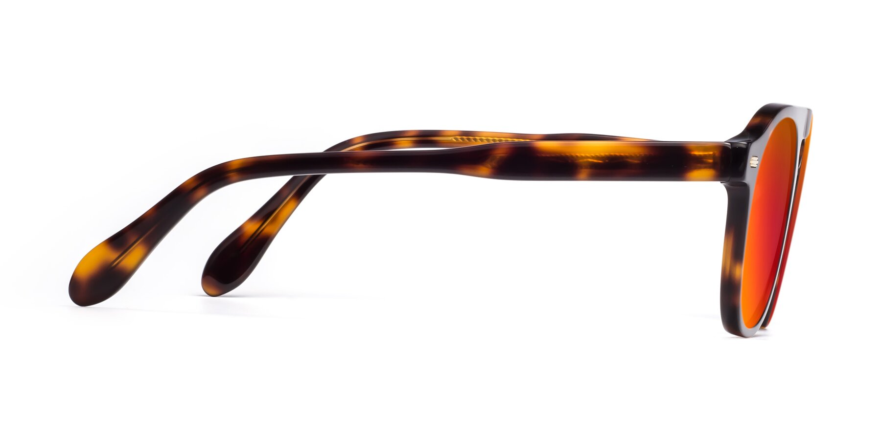 Side of Mufasa in Tortoise with Red Gold Mirrored Lenses