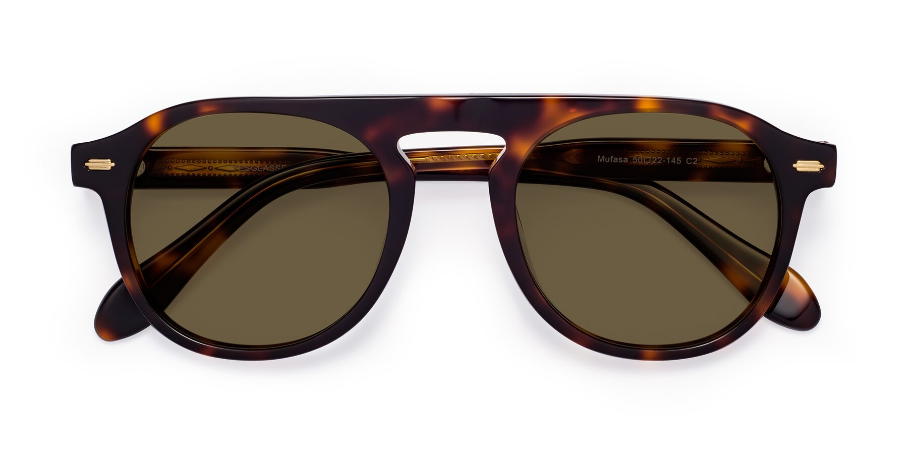 Folded Front of Mufasa in Tortoise with Brown Polarized Lenses