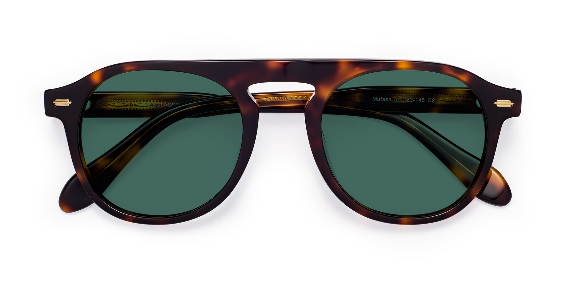 Folded Front of Mufasa in Tortoise with Green Polarized Lenses