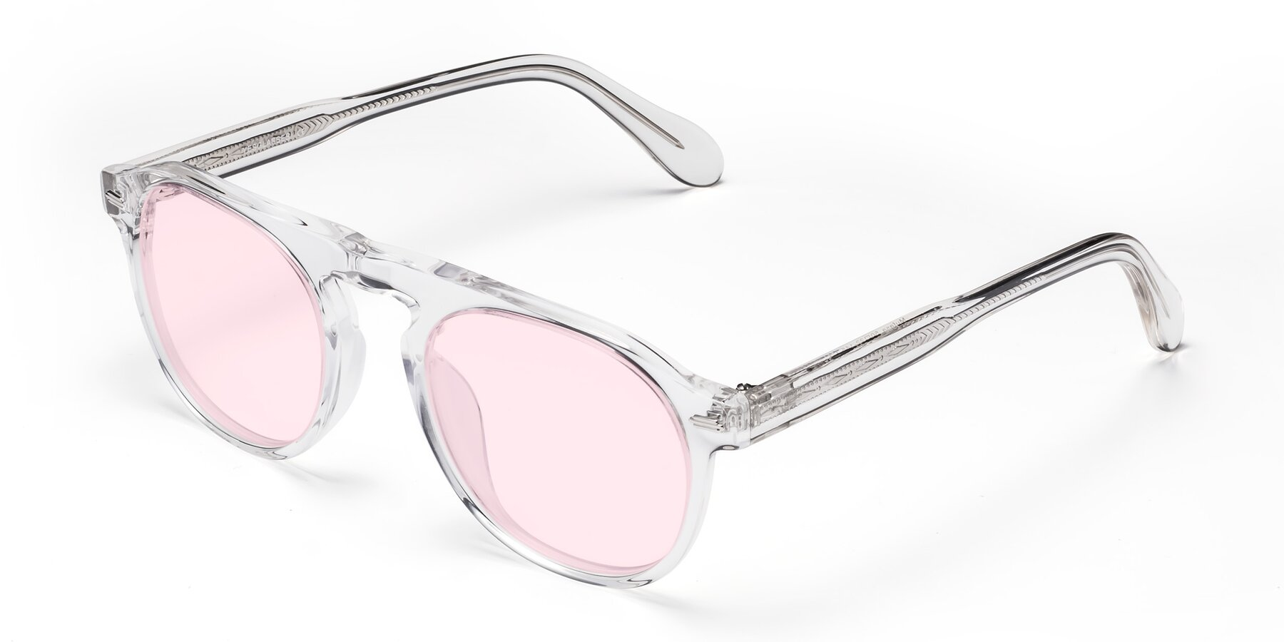 Angle of Mufasa in Clear with Light Pink Tinted Lenses