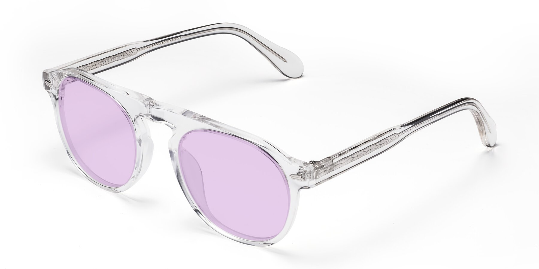 Angle of Mufasa in Clear with Light Purple Tinted Lenses