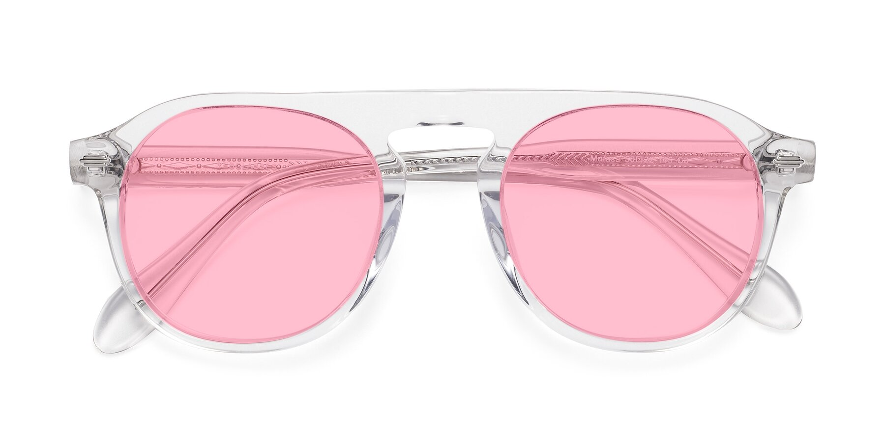 Folded Front of Mufasa in Clear with Medium Pink Tinted Lenses