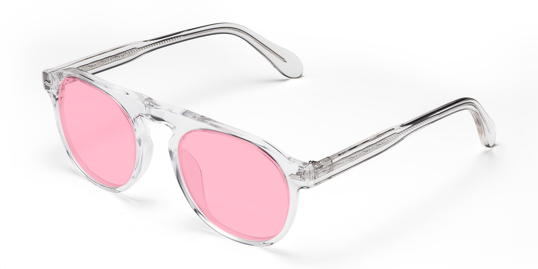 Angle of Mufasa in Clear with Medium Pink Tinted Lenses