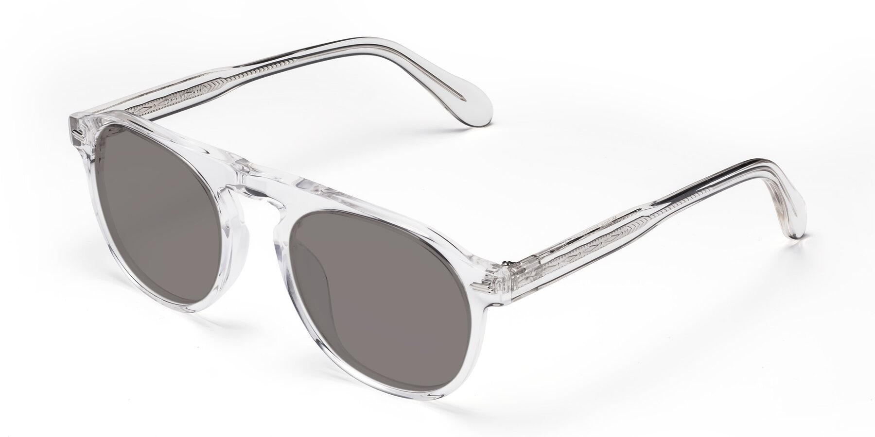 Angle of Mufasa in Clear with Medium Gray Tinted Lenses