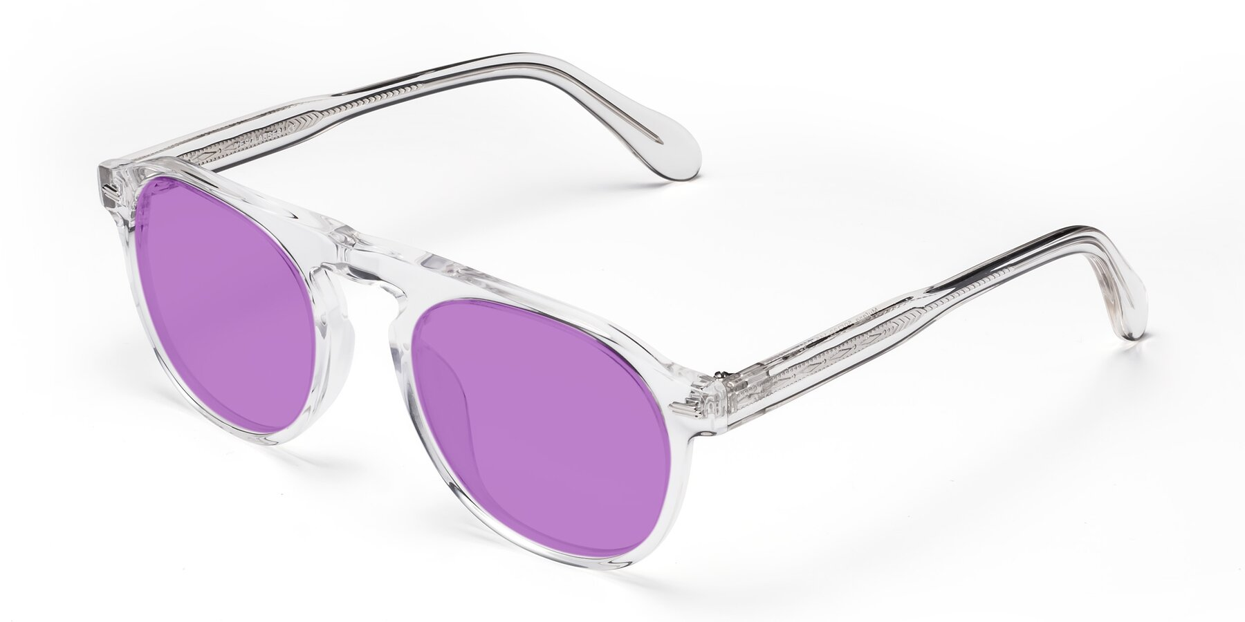 Angle of Mufasa in Clear with Medium Purple Tinted Lenses