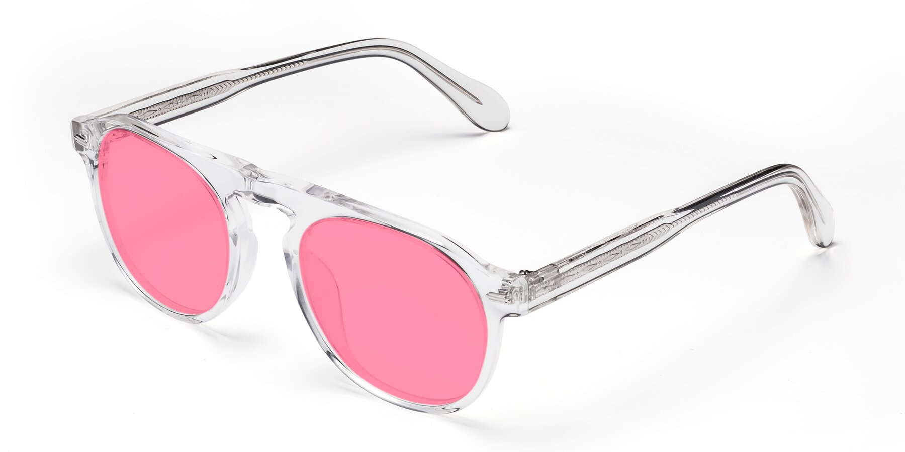 Angle of Mufasa in Clear with Pink Tinted Lenses