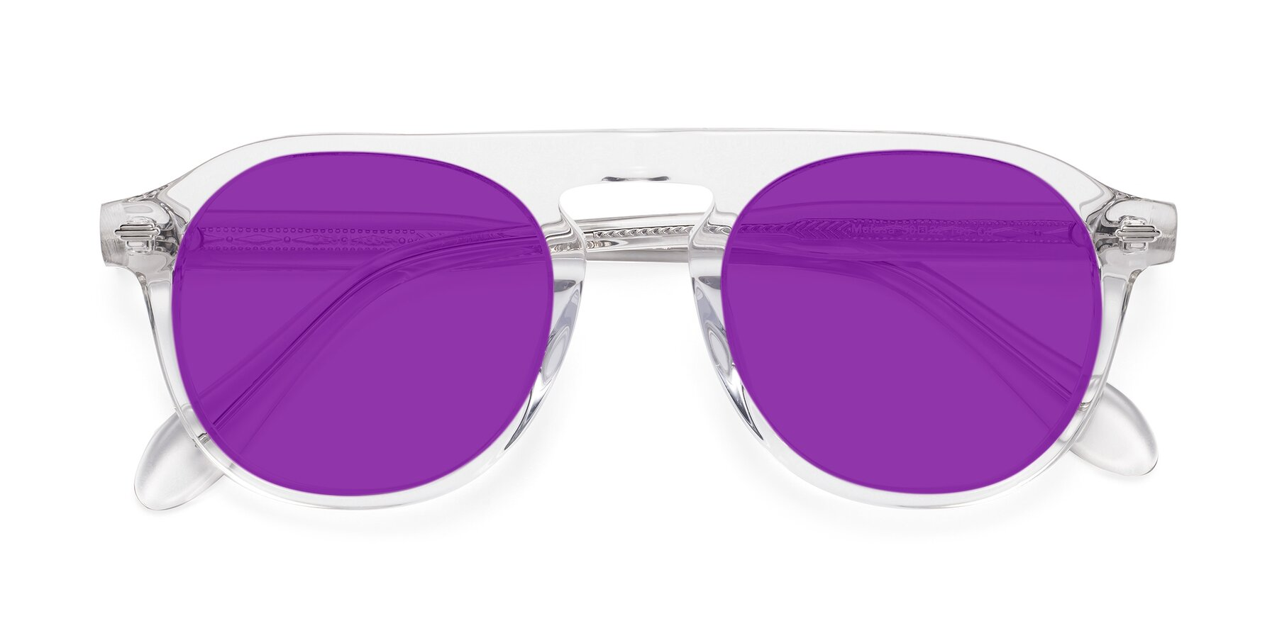 Folded Front of Mufasa in Clear with Purple Tinted Lenses