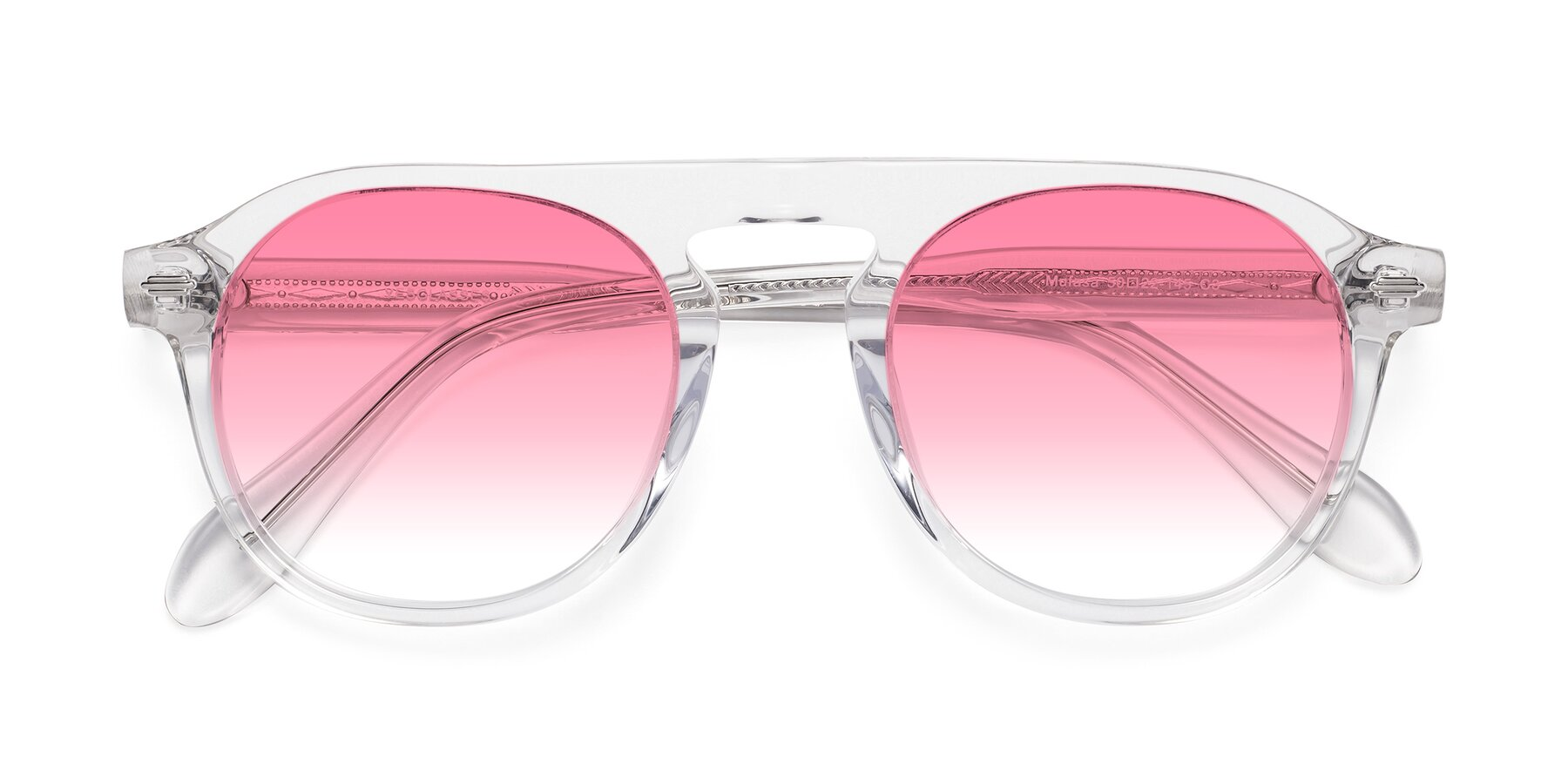 Folded Front of Mufasa in Clear with Pink Gradient Lenses