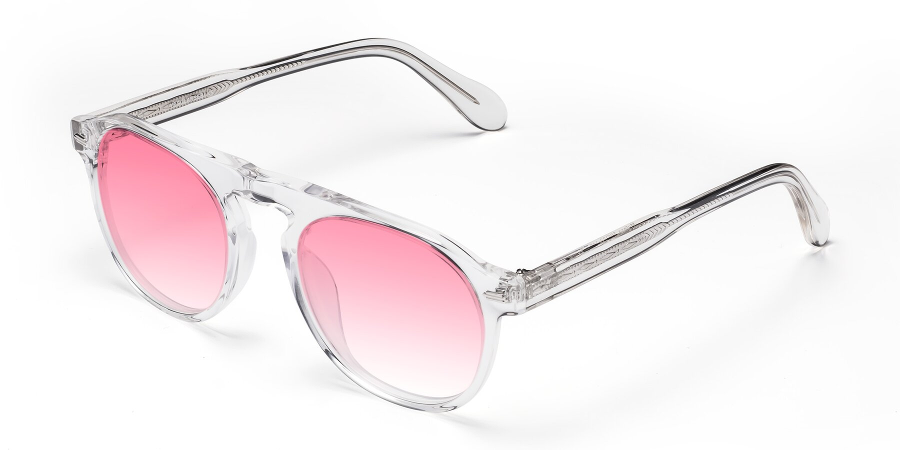 Angle of Mufasa in Clear with Pink Gradient Lenses