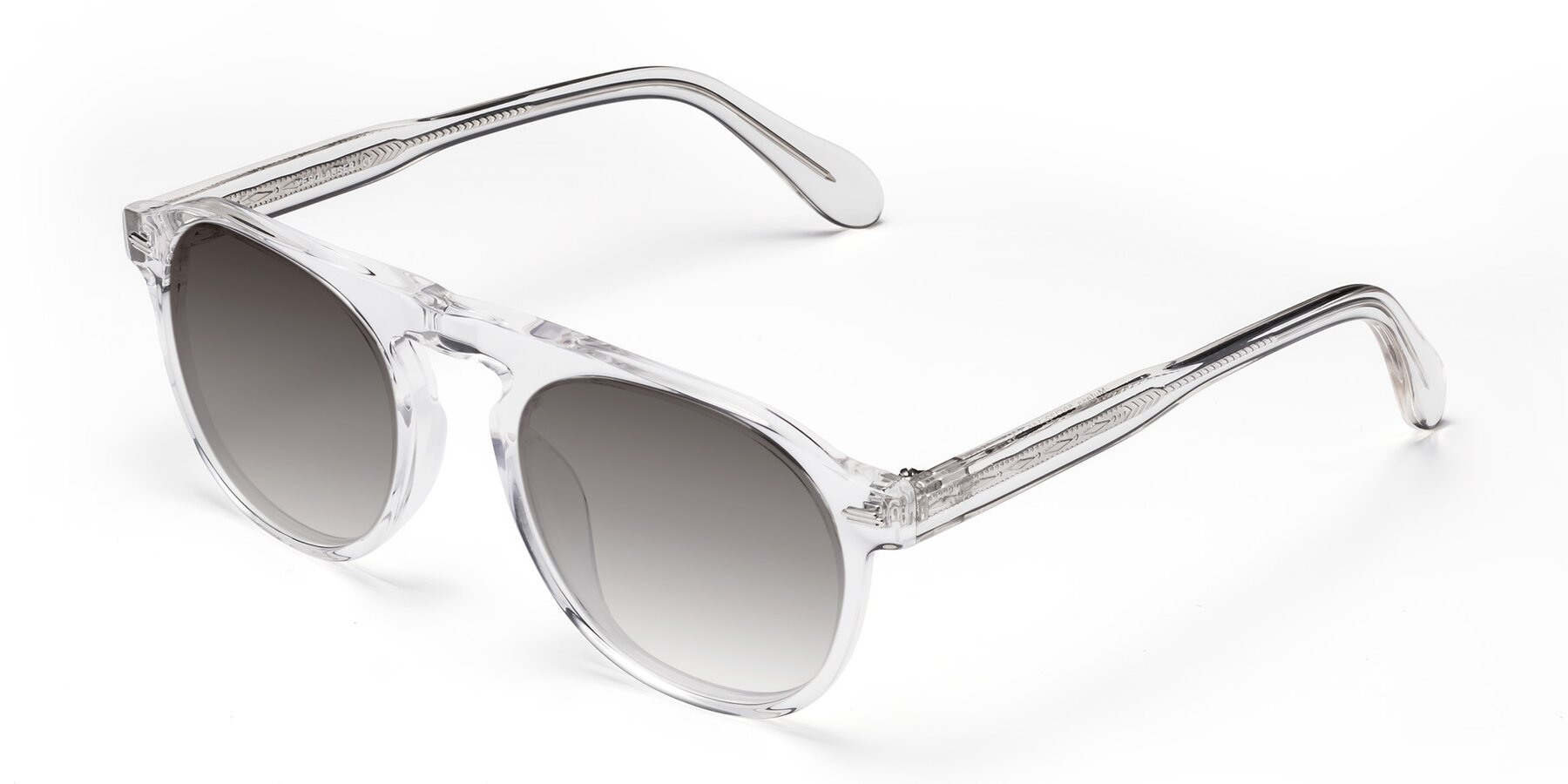 Angle of Mufasa in Clear with Gray Gradient Lenses