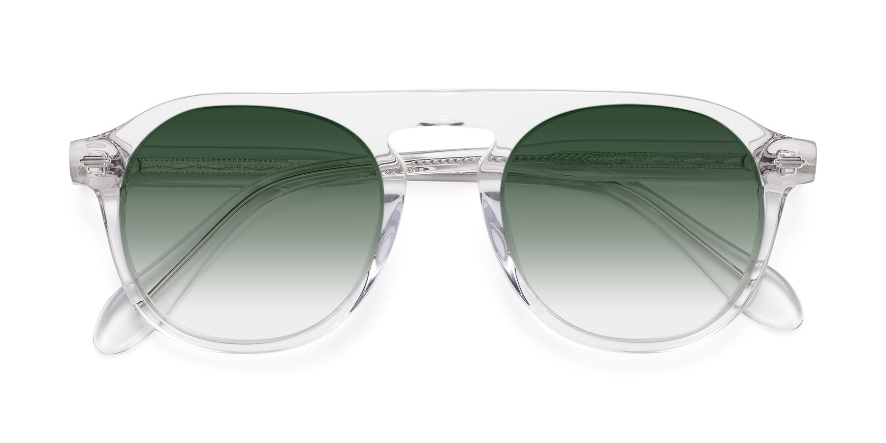 Folded Front of Mufasa in Clear with Green Gradient Lenses