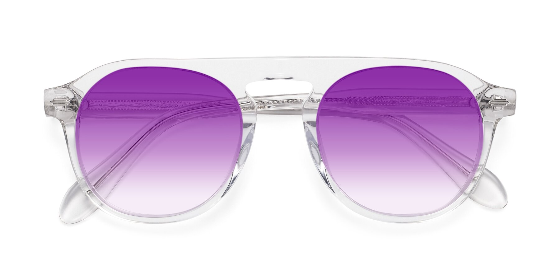 Folded Front of Mufasa in Clear with Purple Gradient Lenses