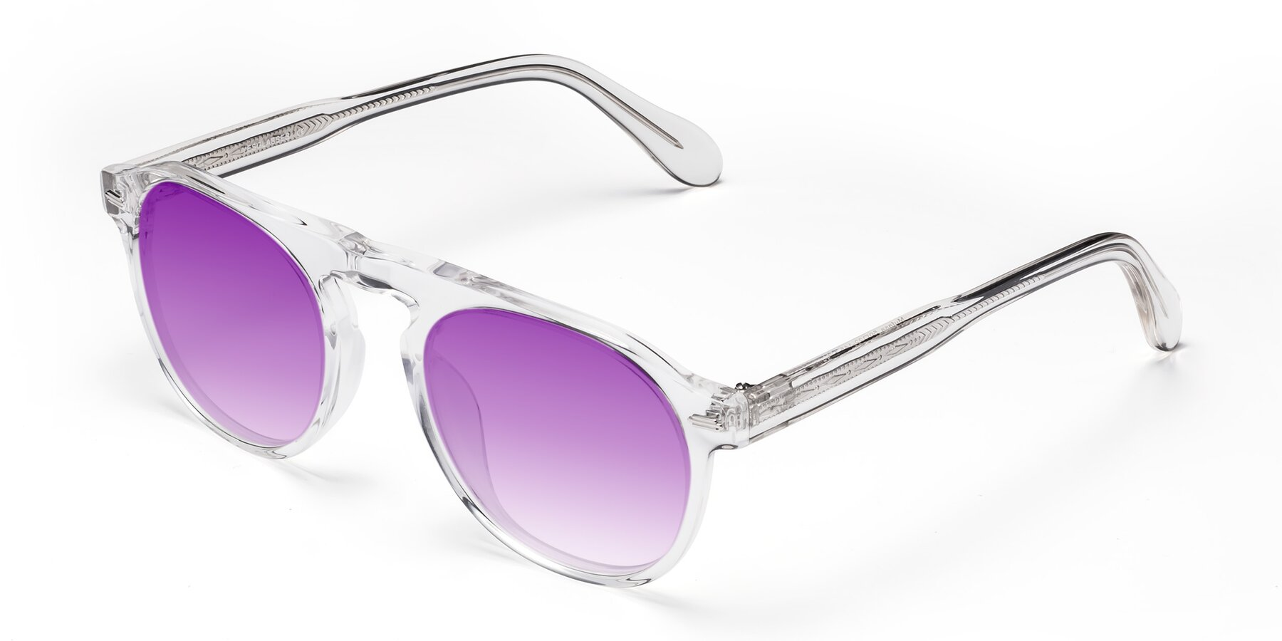 Angle of Mufasa in Clear with Purple Gradient Lenses