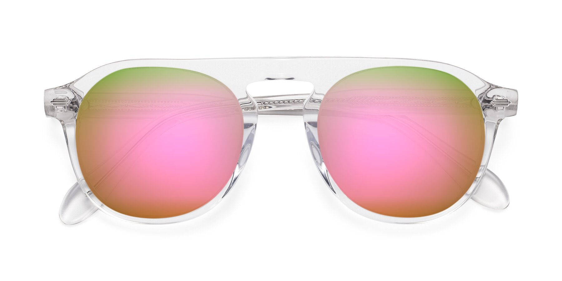 Folded Front of Mufasa in Clear with Pink Mirrored Lenses