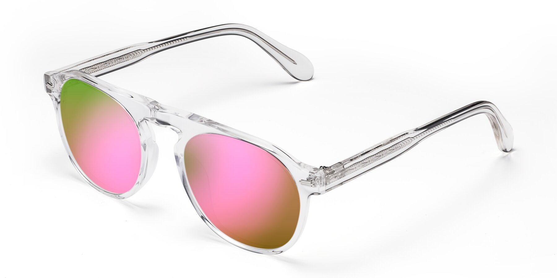 Angle of Mufasa in Clear with Pink Mirrored Lenses