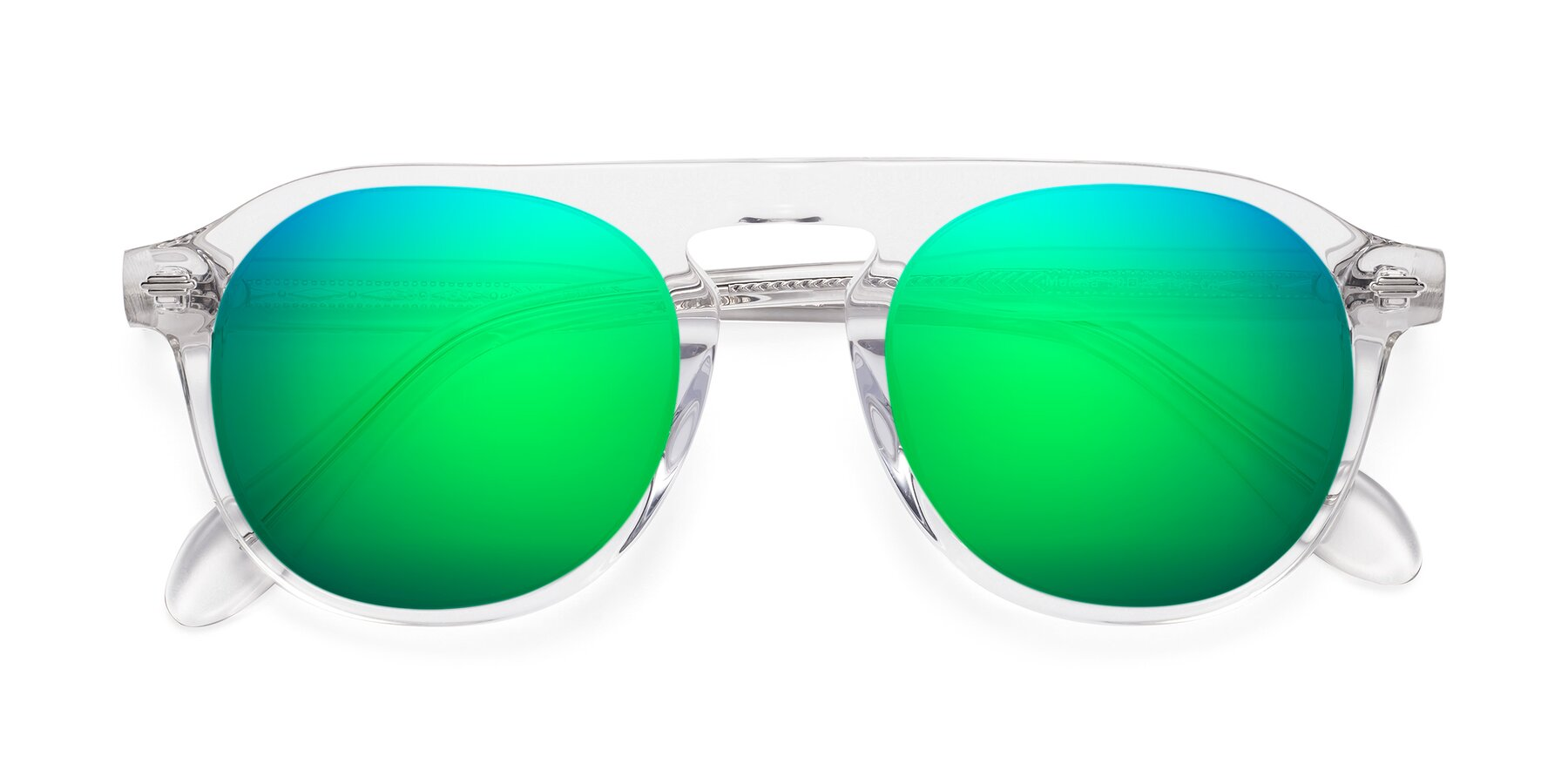 Folded Front of Mufasa in Clear with Green Mirrored Lenses