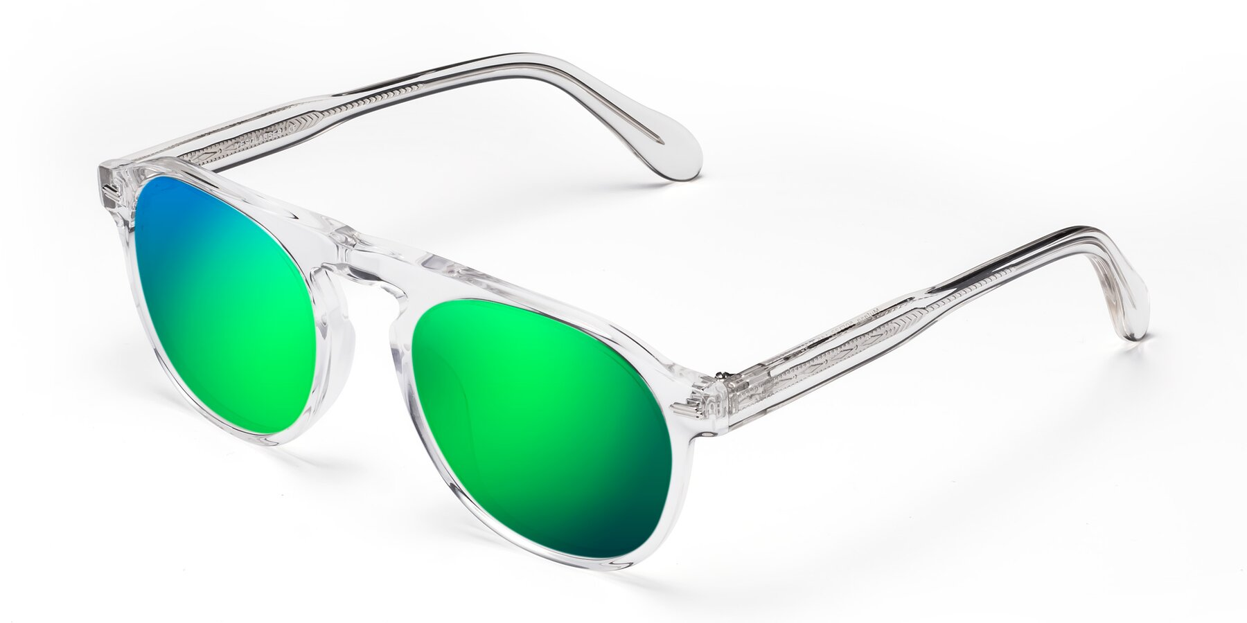 Angle of Mufasa in Clear with Green Mirrored Lenses