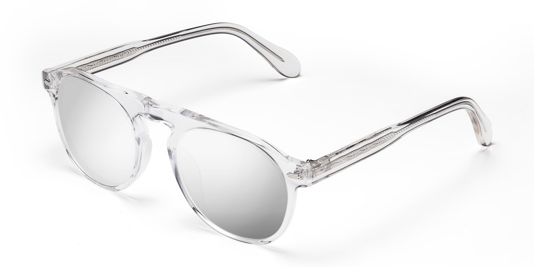 Angle of Mufasa in Clear with Silver Mirrored Lenses