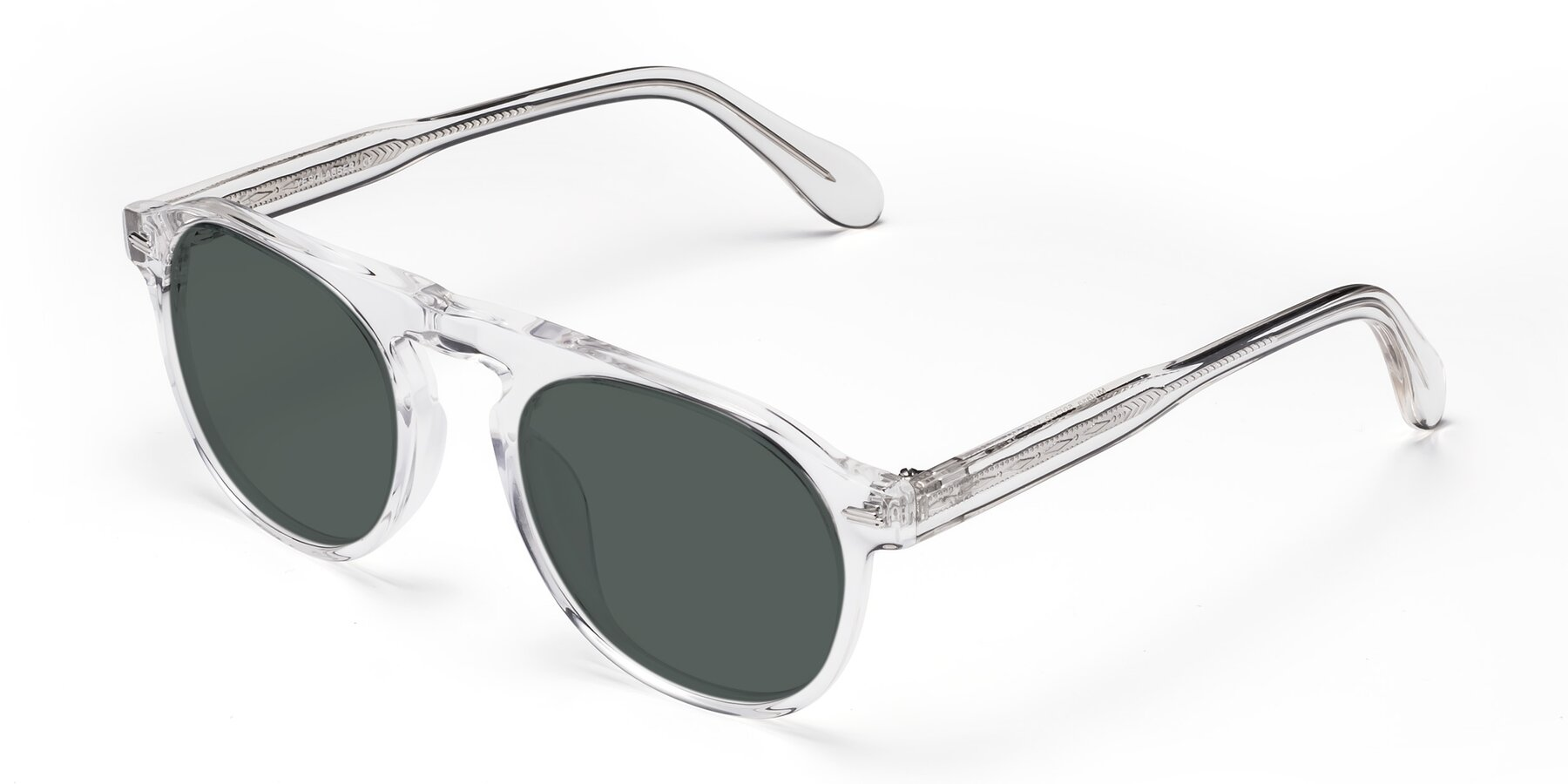 Angle of Mufasa in Clear with Gray Polarized Lenses