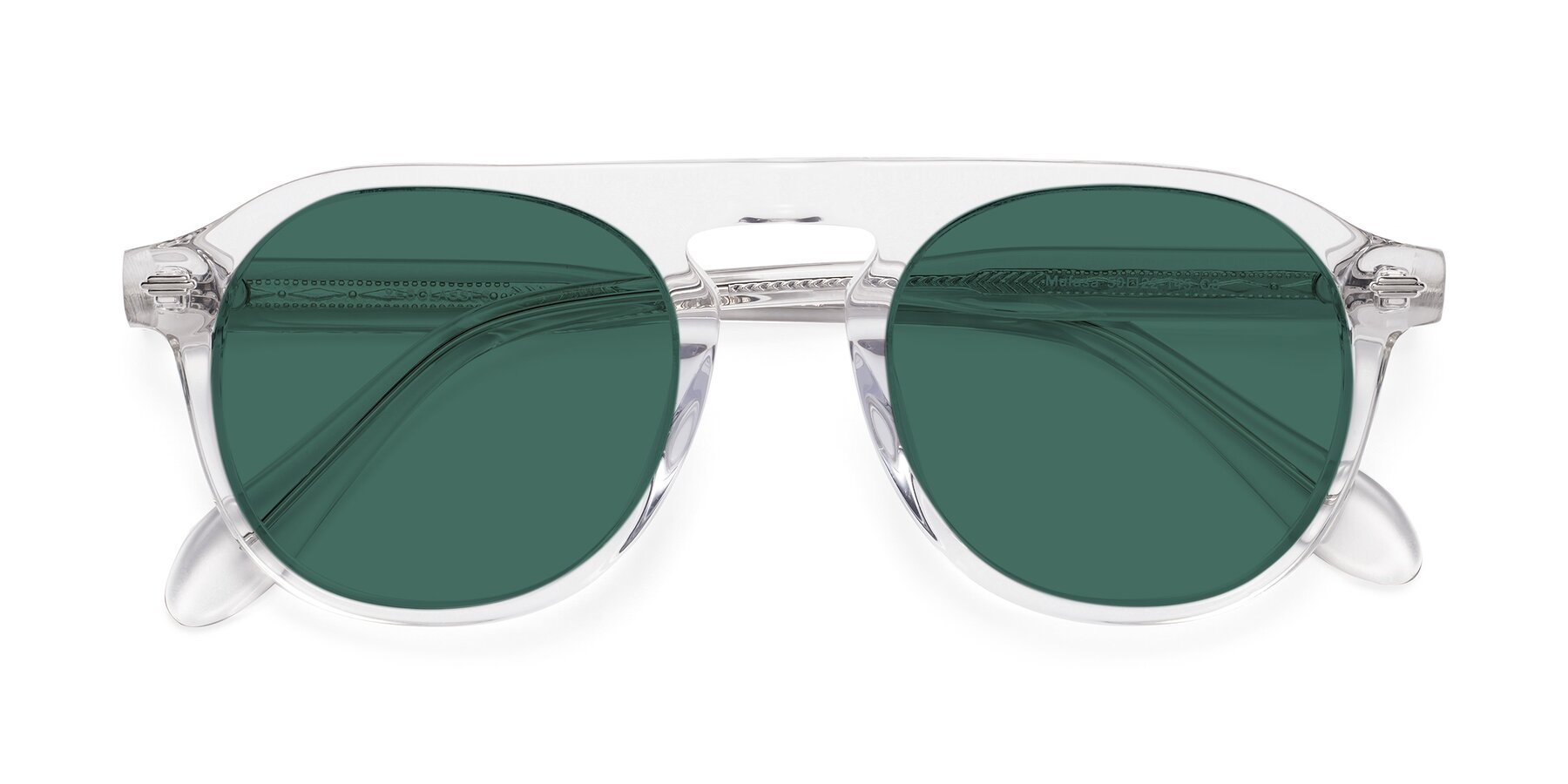 Folded Front of Mufasa in Clear with Green Polarized Lenses