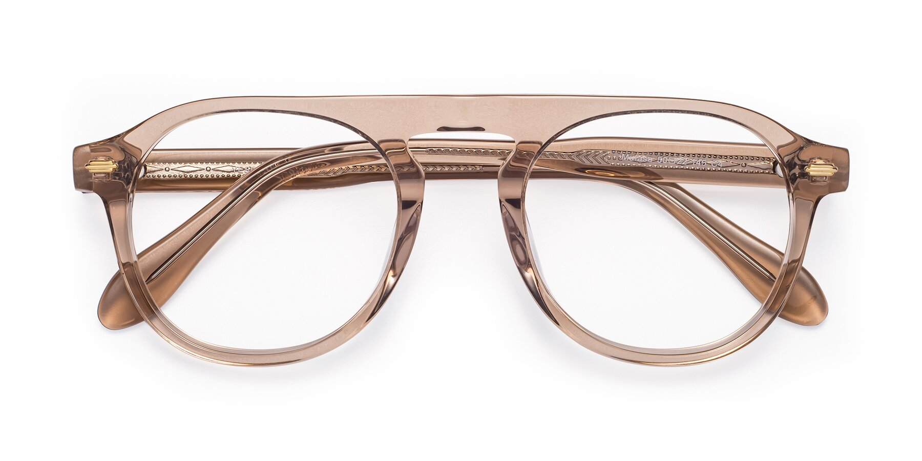 Folded Front of Mufasa in light Brown with Clear Eyeglass Lenses