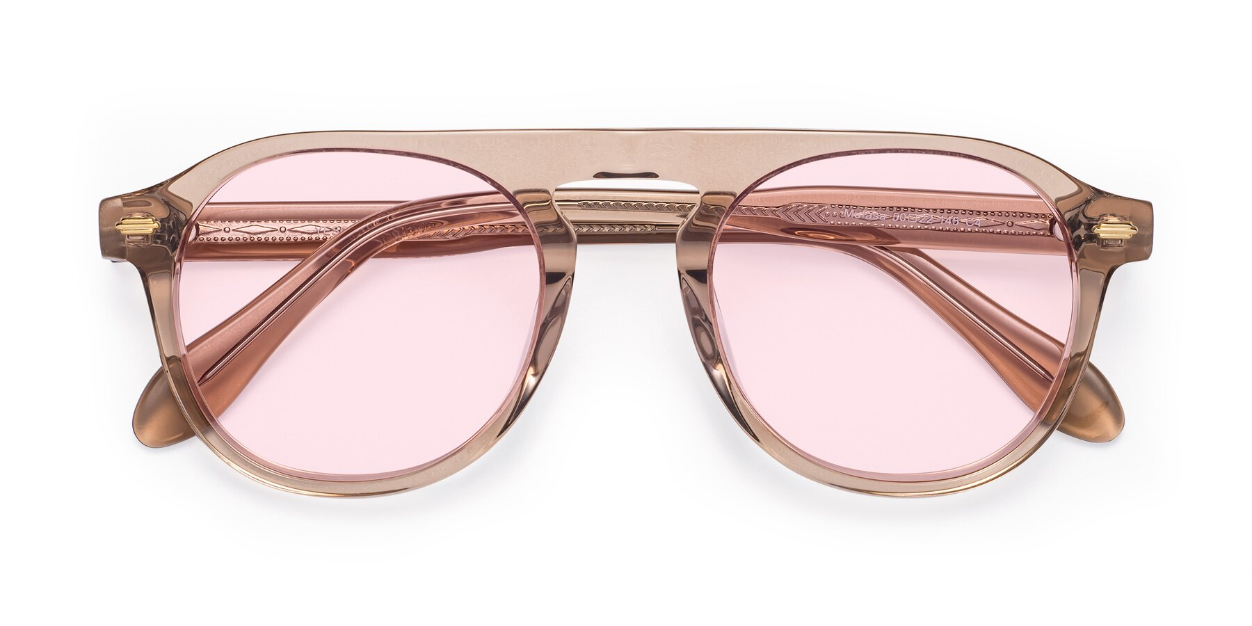 Folded Front of Mufasa in light Brown with Light Pink Tinted Lenses