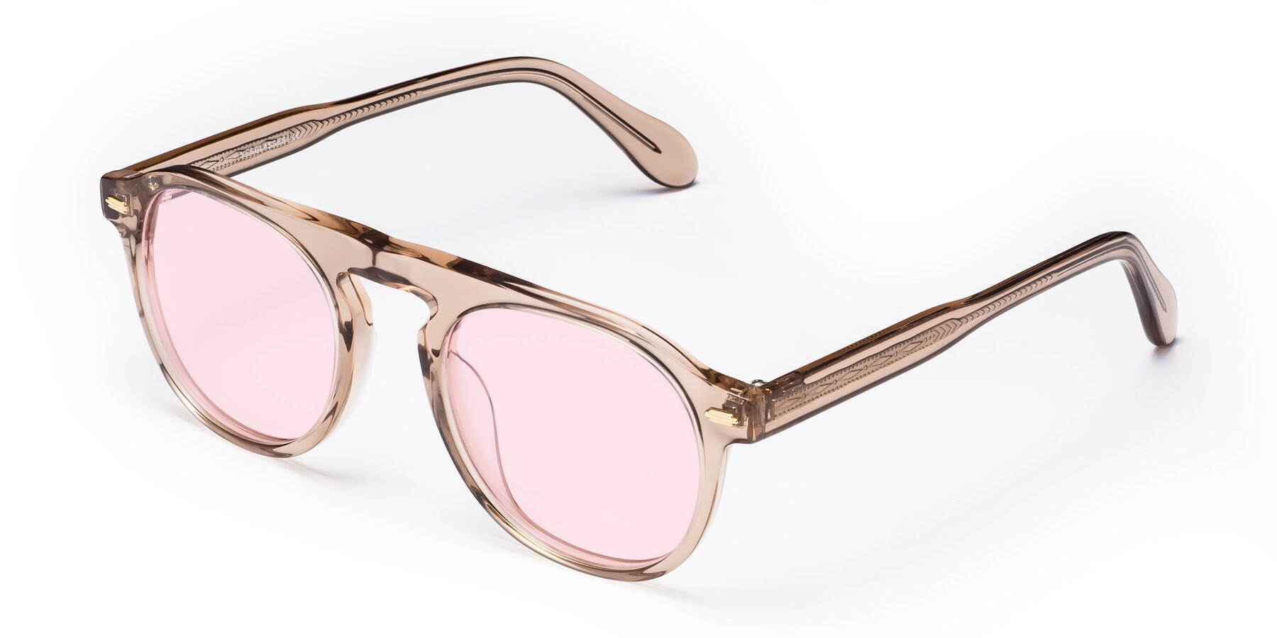 Angle of Mufasa in light Brown with Light Pink Tinted Lenses