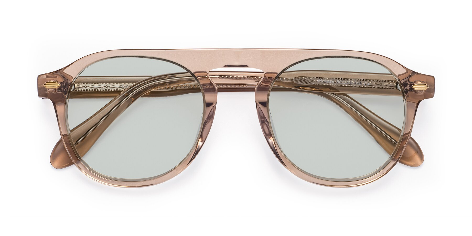 Folded Front of Mufasa in light Brown with Light Green Tinted Lenses