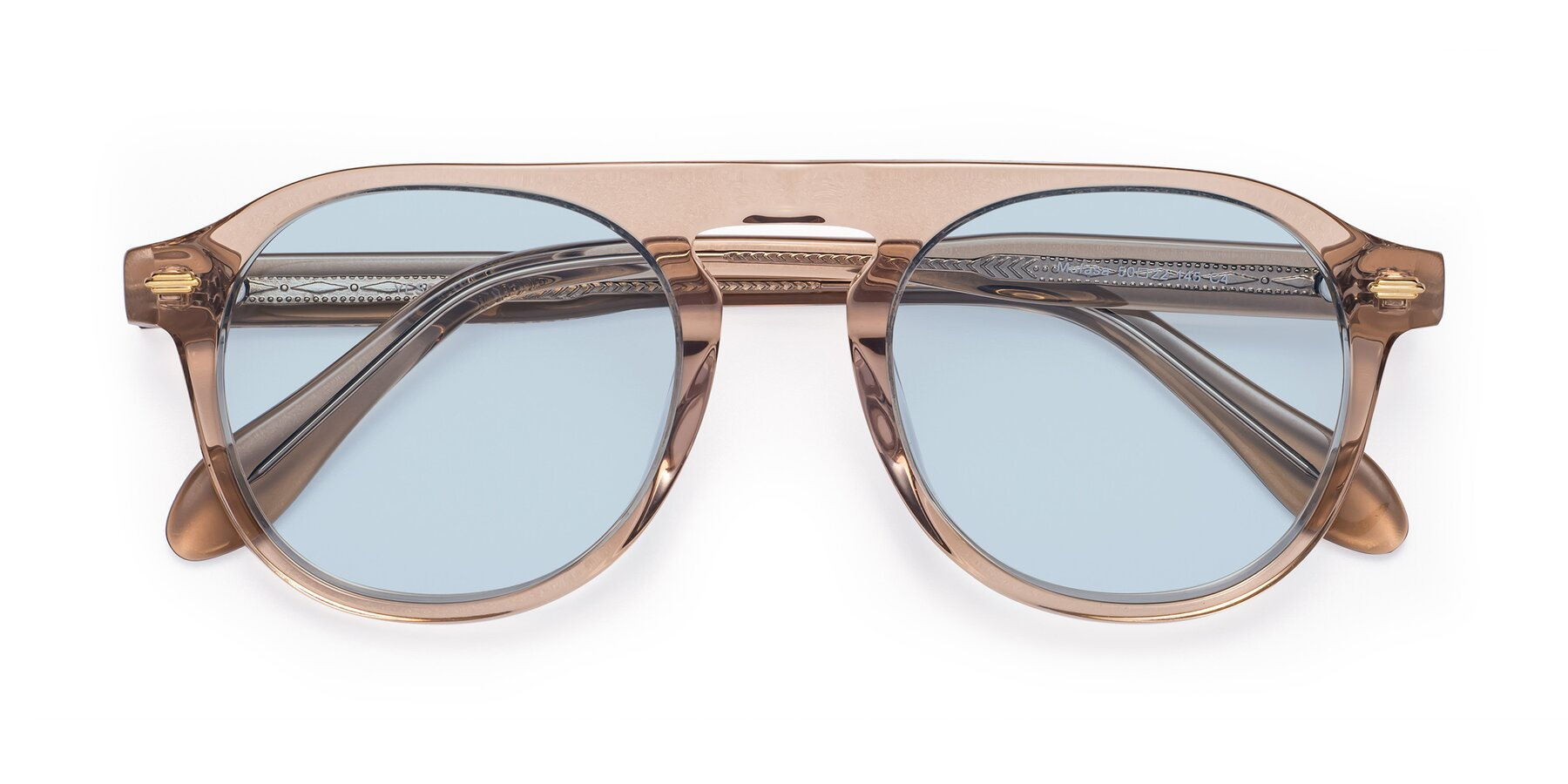 Folded Front of Mufasa in light Brown with Light Blue Tinted Lenses