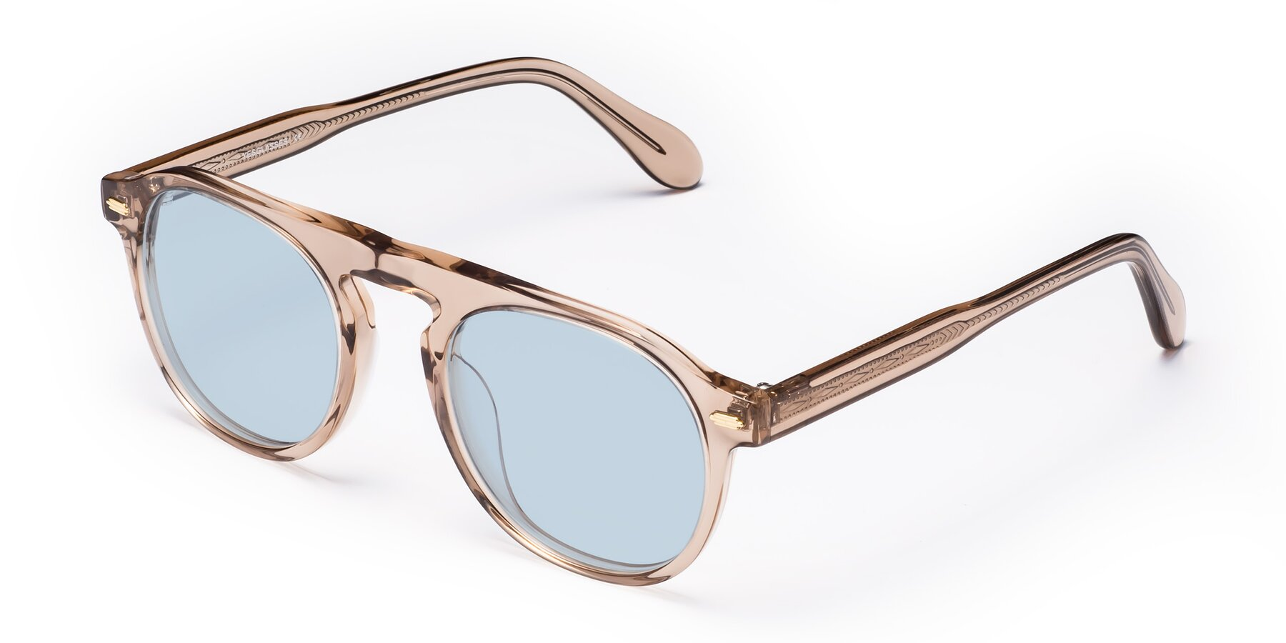 Angle of Mufasa in light Brown with Light Blue Tinted Lenses