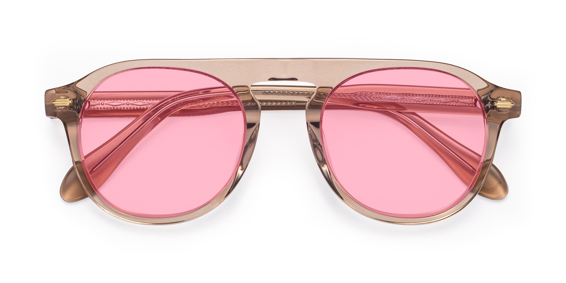 Folded Front of Mufasa in light Brown with Medium Pink Tinted Lenses