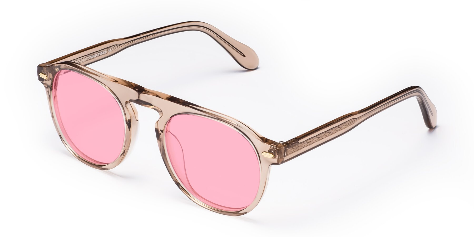 Angle of Mufasa in light Brown with Medium Pink Tinted Lenses