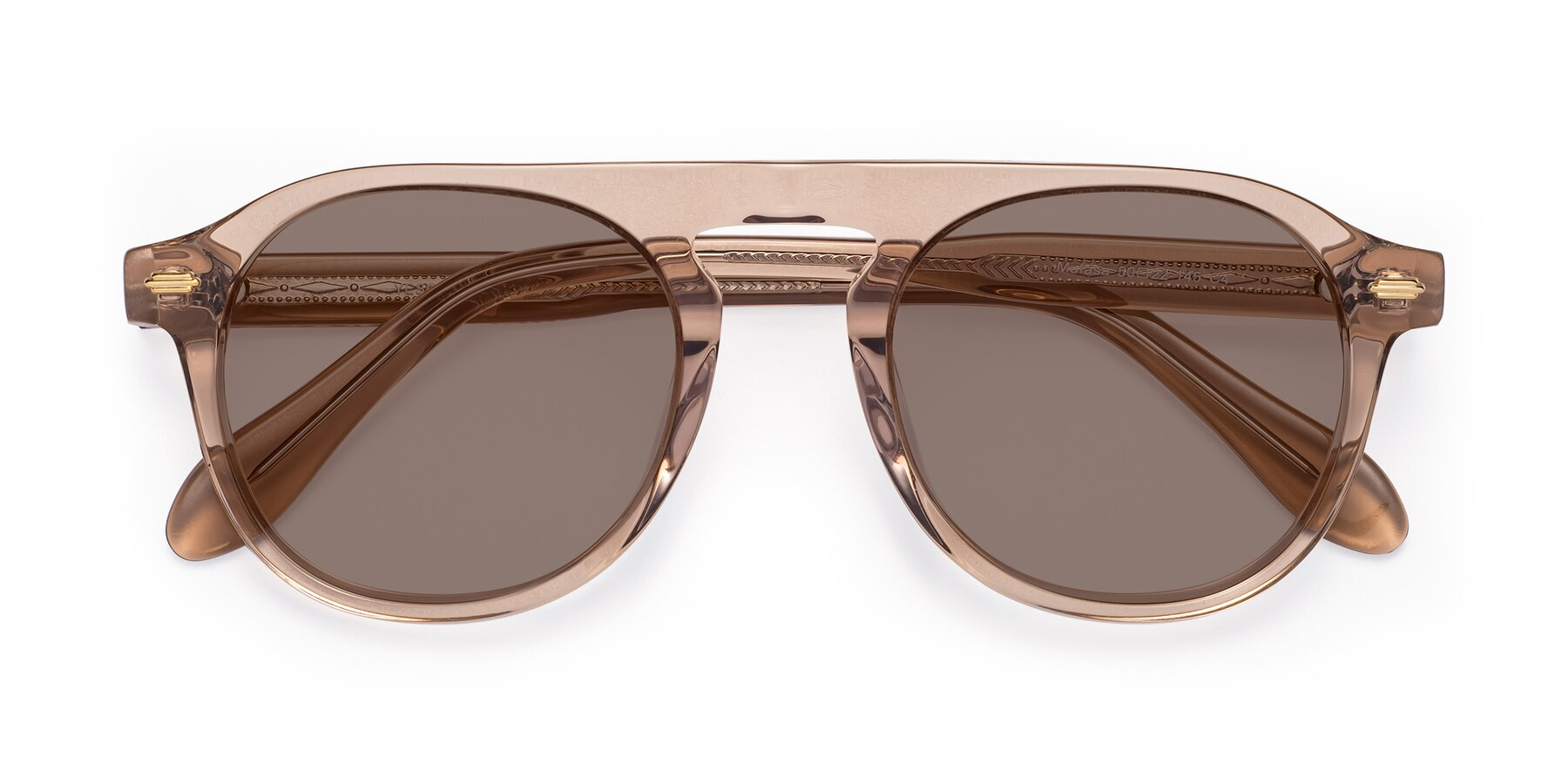 Folded Front of Mufasa in light Brown with Medium Brown Tinted Lenses