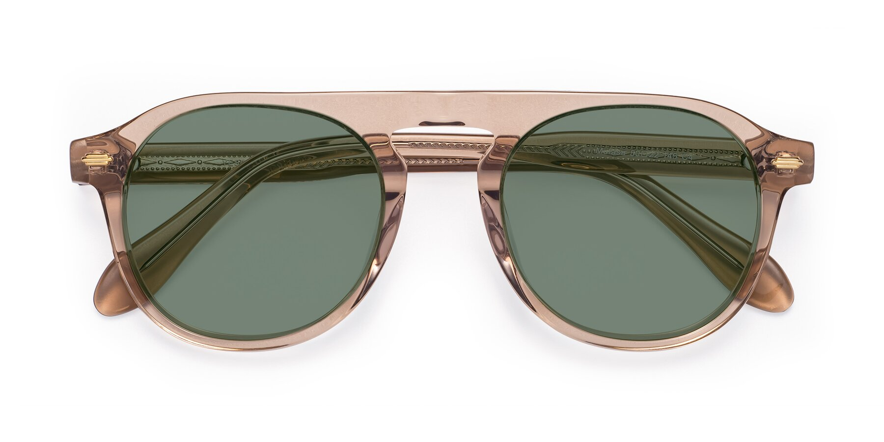 Folded Front of Mufasa in light Brown with Medium Green Tinted Lenses