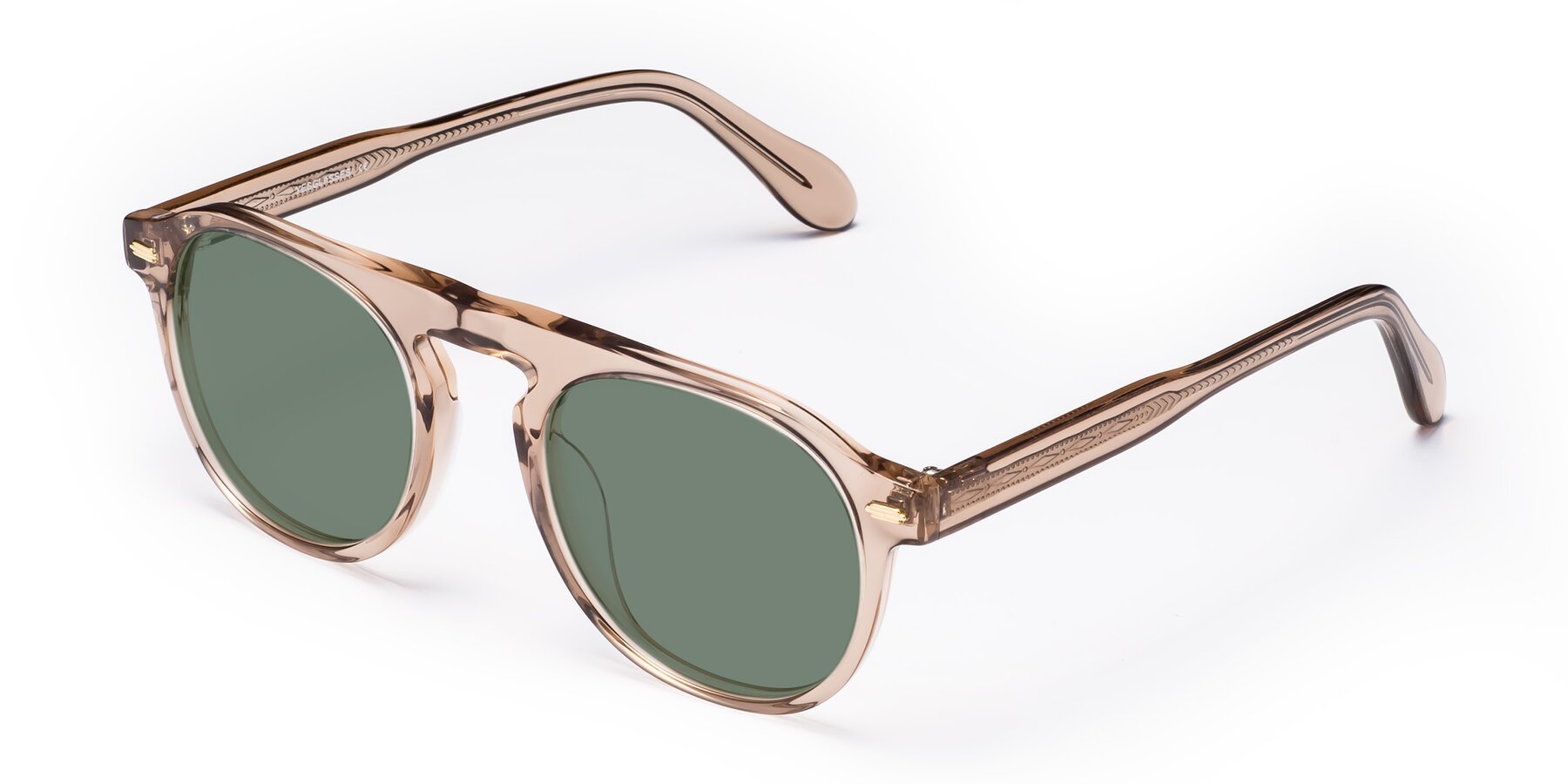 Angle of Mufasa in light Brown with Medium Green Tinted Lenses
