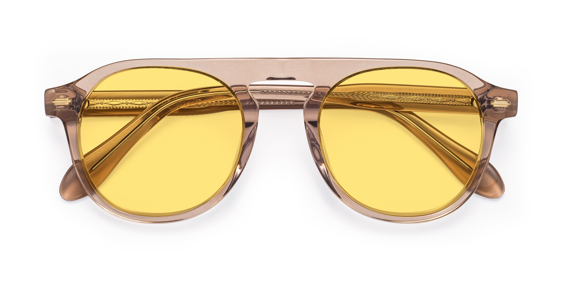 Folded Front of Mufasa in light Brown with Medium Yellow Tinted Lenses