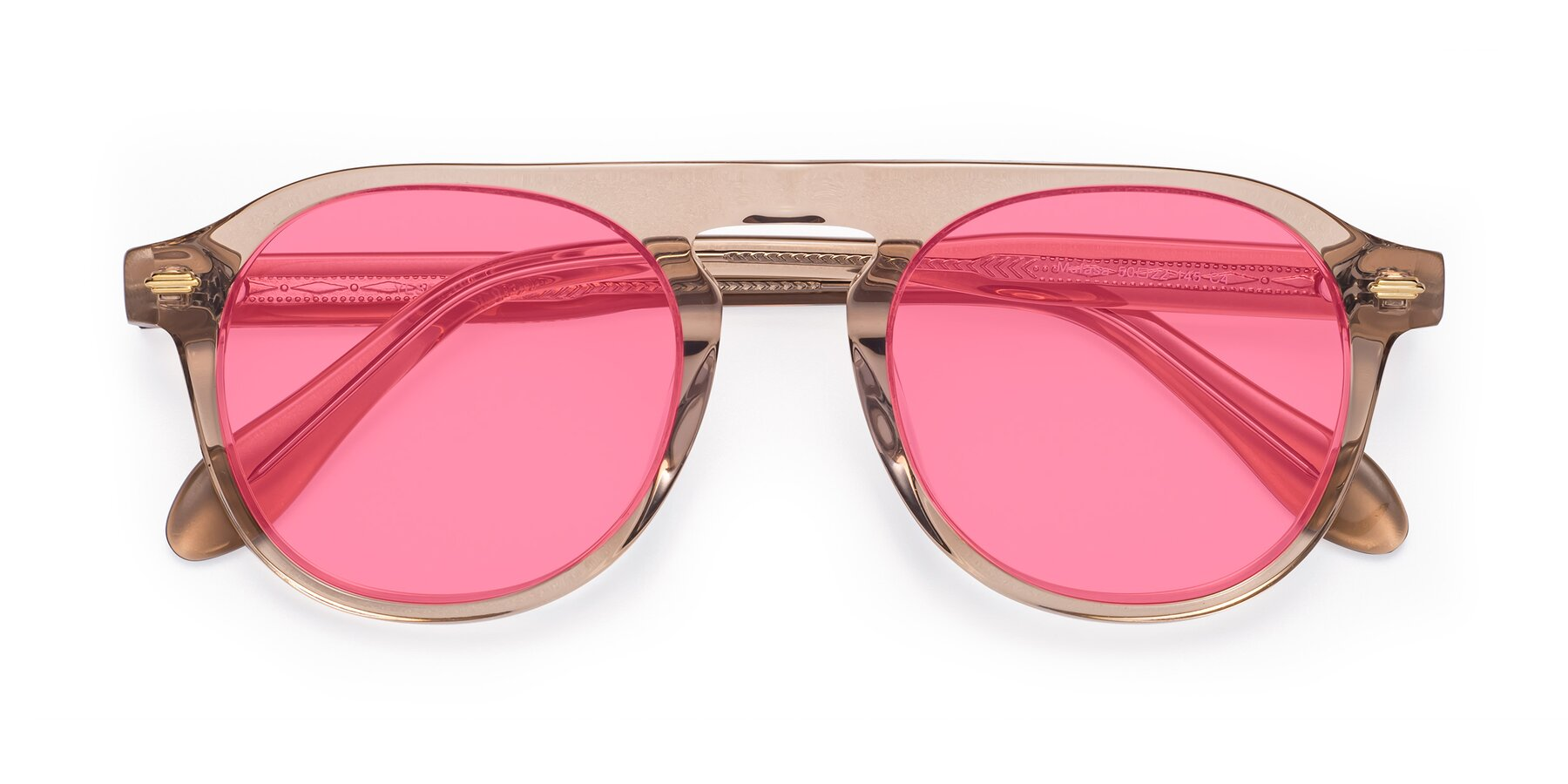 Folded Front of Mufasa in light Brown with Pink Tinted Lenses