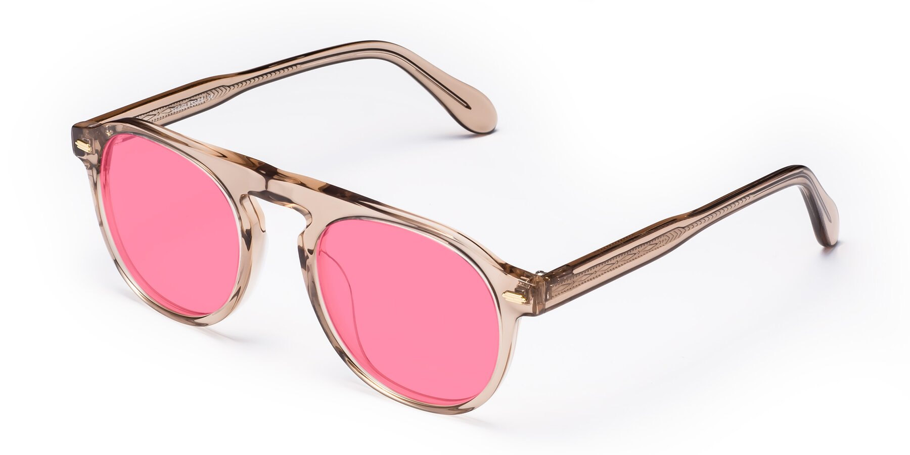 Angle of Mufasa in light Brown with Pink Tinted Lenses
