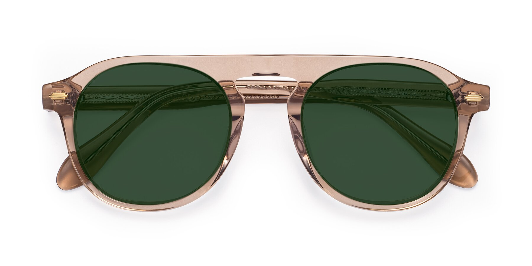 Folded Front of Mufasa in light Brown with Green Tinted Lenses