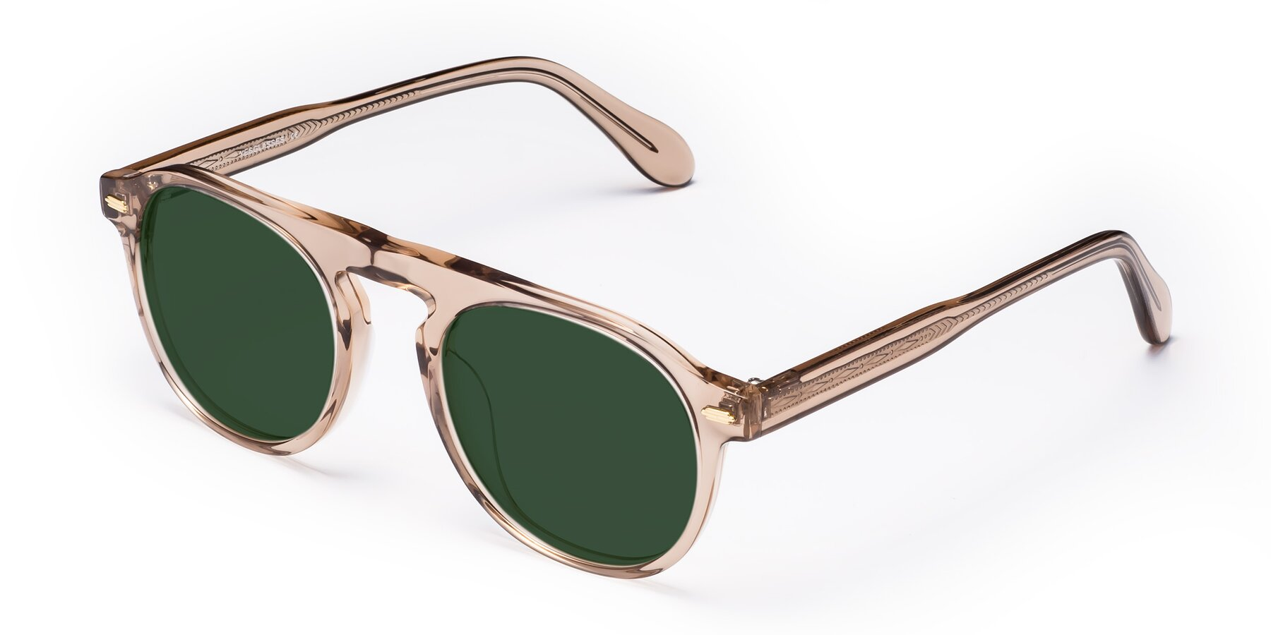 Angle of Mufasa in light Brown with Green Tinted Lenses